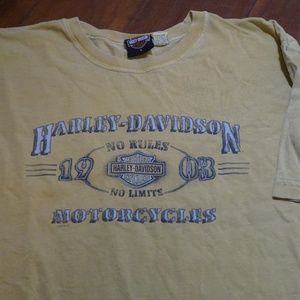 Other - Mens Harley Davidson Yellow Gold Short Sleeve T